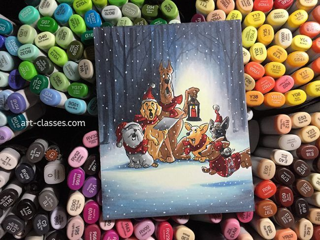 Santa Paws Christmas Choir (pencil, meet airbrush) – Sandy Allnock