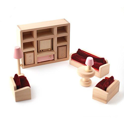 Amazing From Wooden Dolls House Furniture Set Pink Living Room