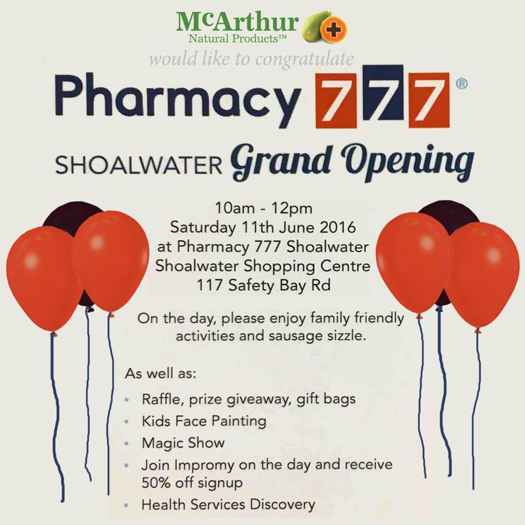 Congratulations Pharmacy777 Shoalwater - McArthur Natural Products is proud to support your Grand Opening this Saturday 11th June 10am-12pm at Shoalwater Shopping Centre, 117 Safety Bay Rd, WA. We hope you have a lot of locals join you for the family friendly activities, sausage sizzle and McArthur Natural Products' giveaways and product samples.  Find out more: http://www.pharmacy777.com.au/our-pharmacies/shoalwater  #mnp #mcarthurnaturalproducts #pharmacy777