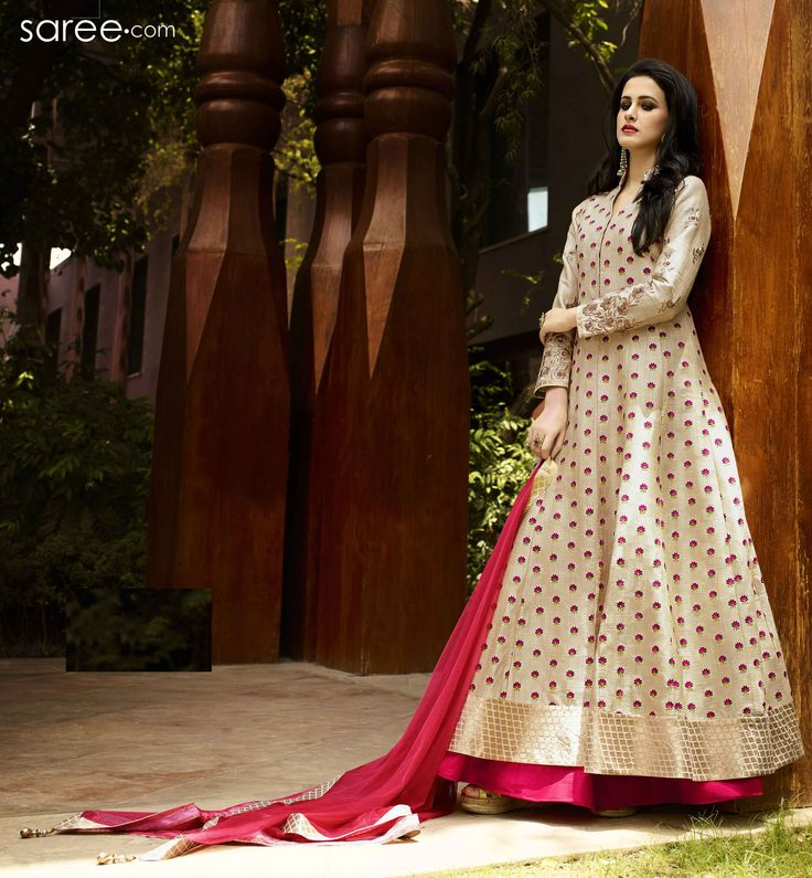 BEIGE SILK SUIT WITH ZARDOSI WORK