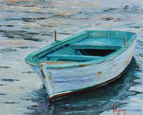 """Daily Paintworks - """"Lonely boat 2"""" - Original Fine Art for Sale - © Marco Vazquez"""