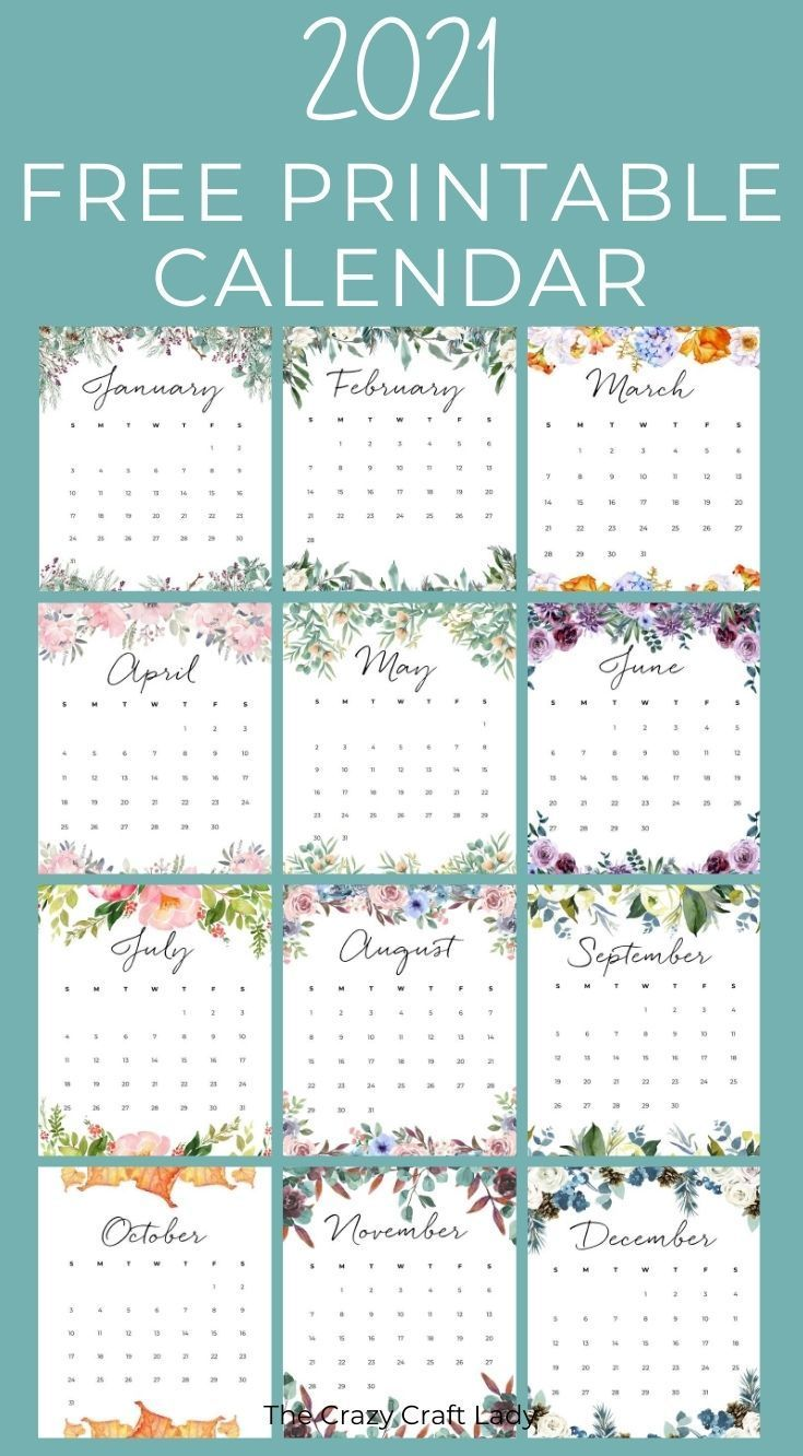 2021 Free Printable Floral Wall Calendar In 2020 Planner Printables Free Free Printables Calendar Printables