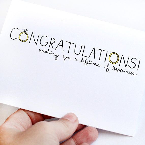 Wedding Card. Wedding Congratulations Card. Wishing You a Lifetime of Happiness. Black, Yellow, White. Folded Blank Card. via Etsy