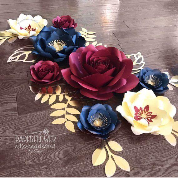 Burgundy Wedding Paper Flower Backdrop Navy Marsala and Gold Wedding Flowers Burgundy Navy and Ivory Paper Flowers