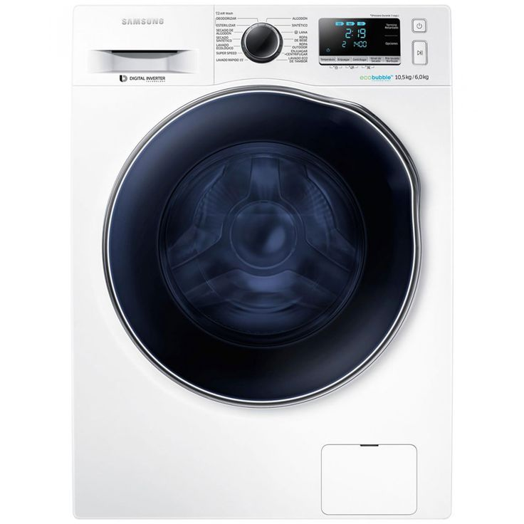 Lavasecadora Samsung que funciona a través de generación de burbujas disolviendo el detergente con aire y agua. Penetrando perfectamente en el tejido de manera rápida uniforme y profunda. Inyecciones de limpieza de agua con detergente disuelto y después