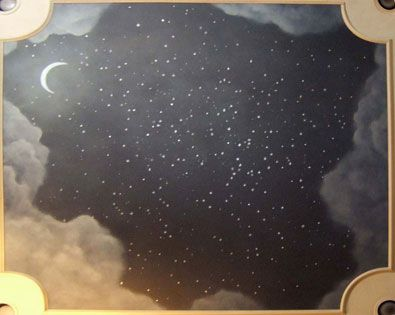 Night sky mural on the ceiling of a kid's room.  this, but the black would be mixed with glitter and glow in the dark stars would be added