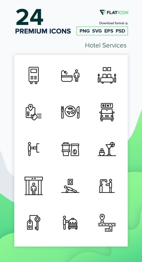 24 Premium Vector Icons Of Hotel Services Designed By Zulfa Mahendra Hotel Services Icon Service Design