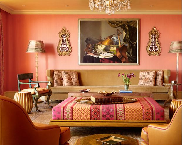 Lovely Peach Moroccan Style Living Room With Pink And Beige Toned Highlights.  Image Via A