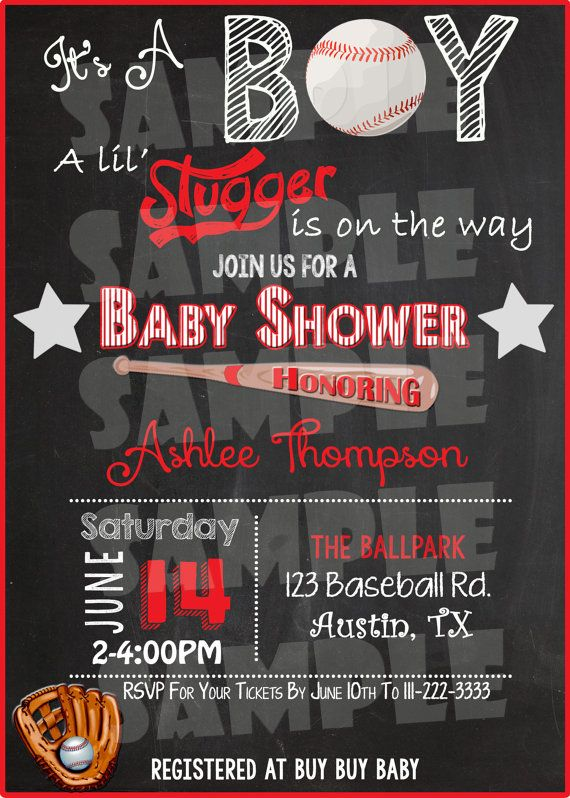 Printable BASEBALL BABY SHOWER Invitation by ShinySparklyParties #babyshowerideas