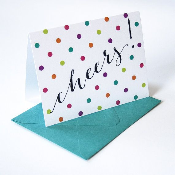Cheers Holiday Greeting Card with colorful polka by DanielleSayer, $4.00