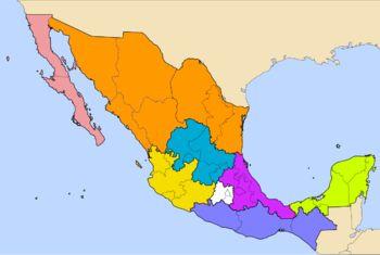 Mexico Map. Main Regions