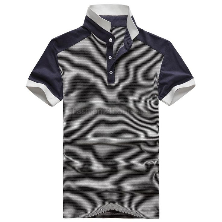 Men Short Sleeve Classic Stand Collar Pinstripe Polo T-Shirt