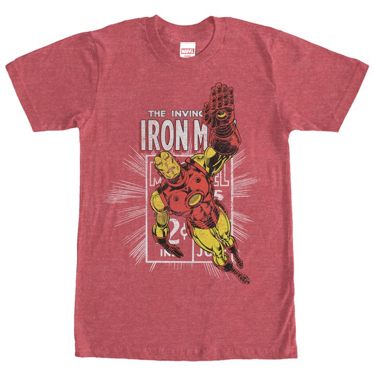 Marvel Iron Man Comic Book Cover Heather Red T-Shirt