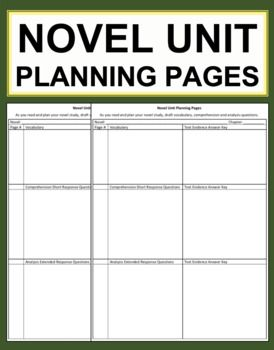 Free Novel Unit Study Planning Pages Printable Pdf Download Tpt