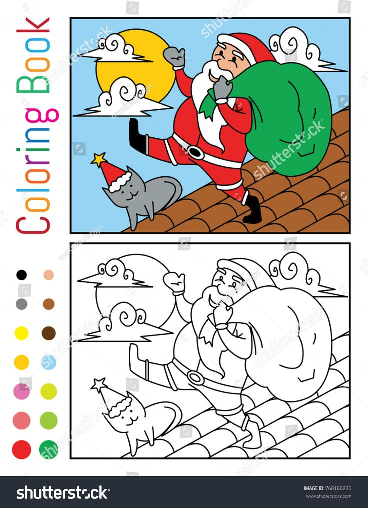 Santa Claus with Cat on The House Roof Coloring Book ...