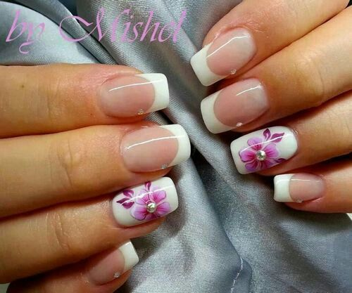 Hawaiian flower white French manicure nails