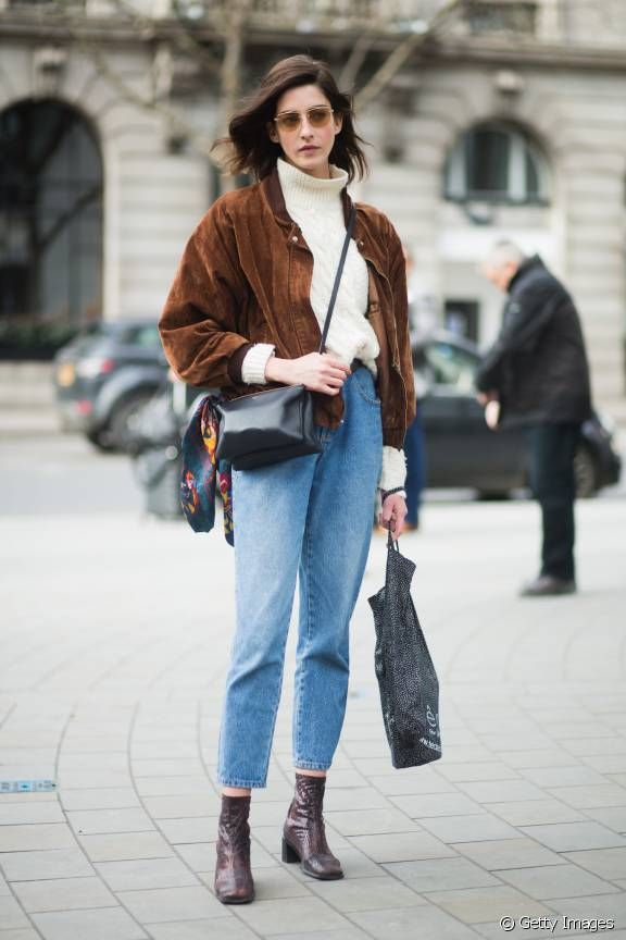 ankle boots jeans white turtleneck sweater brown jacket