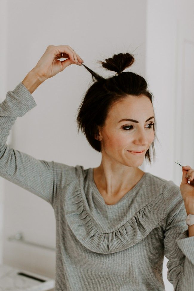 Half Top Knot Tutorial For Short Hair One Little Momma Short Hair Tutorial Short Hair Top Knot Short Hair Styles