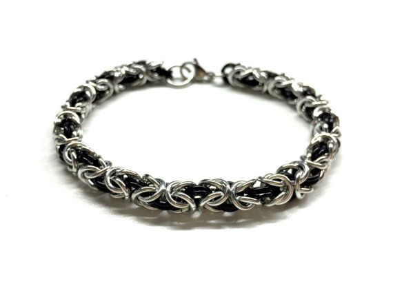 Cool Mens Bracelet. Black Silver Chain Bracelet. by pearlatplay
