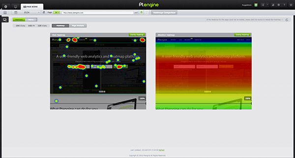 Heat map and scroll map of Ptengine