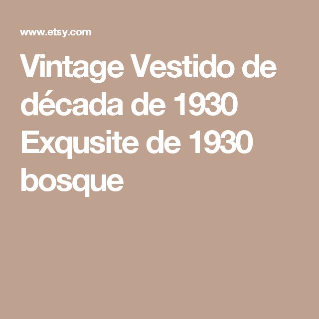 Vintage Vestido de década de 1930  Exqusite de 1930 bosque