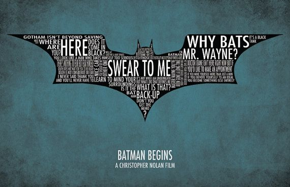 Batman Begins Typography Poster by sap41387 on Etsy, $15.00 want!