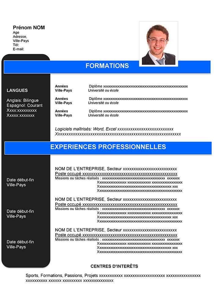 CV Type Anti-chronologique Gratuit à Télécharger (avec images)   Exemple de cv professionnel ...