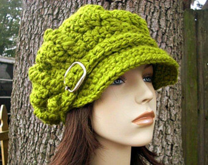 Crochet el sombrero de vendedor de periódicos verde de mujer sombrero sombrero - monarca gran tamaño acanalado Crochet sombrero de vendedor de periódicos en limoncillo verde sombrero - las mujeres accesorios