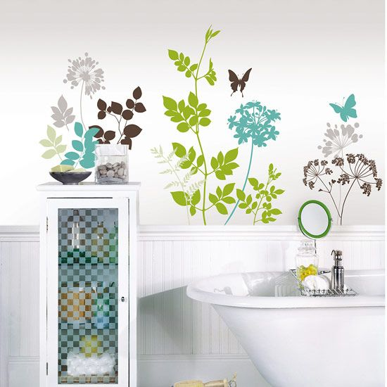 Green And Blue Wall Stickers With Bath And Storage Unit Part 23