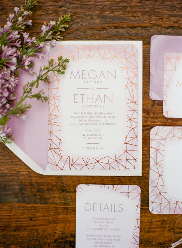 wildflower wedding invitation templates%0A Modern Metallic Purple and Copper Patterned Invitation Suite   Emily  Katharine Photography   http