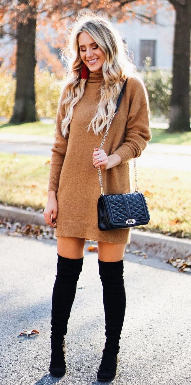 #winter #outfits brown long-sleeved dress #casualwinteroutfit