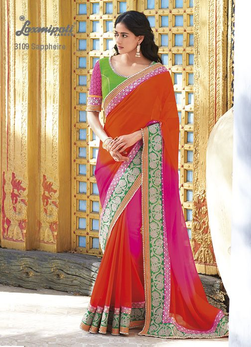 Sequntial moti lace on the edge of the saree  elegant jari-resham work on border are making the georgette saree more attractive.