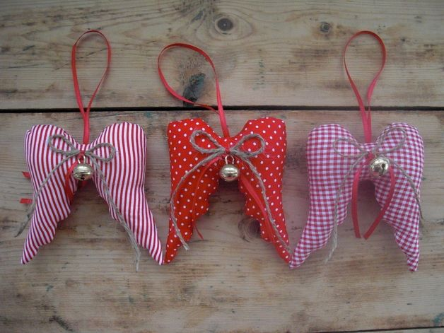 Alas de Navidad en rojo / blanco con campanas - - Adornos de Navidad una pieza de diseño de wurm1980 en DaWanda