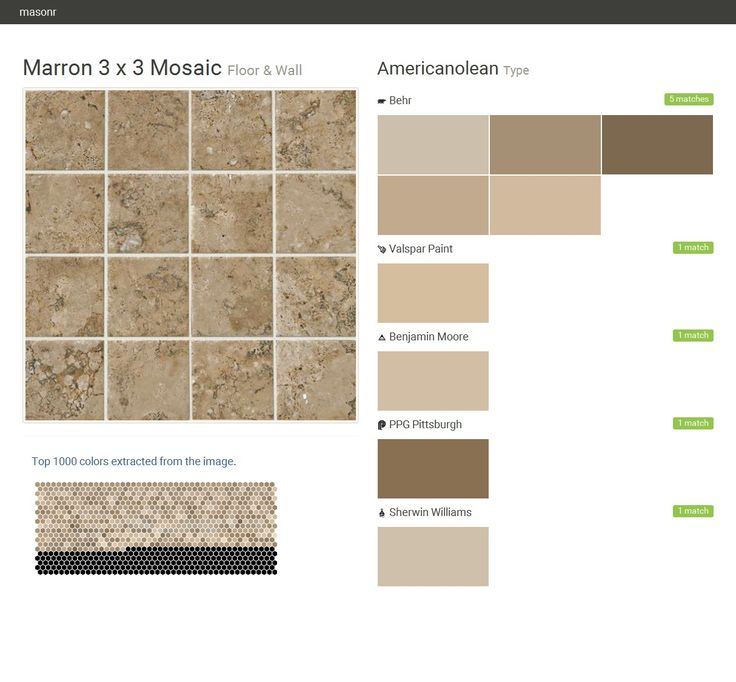 Marron 3 x 3 Mosaic. Floor & Wall. Type. Americanolean. Behr. Valspar Paint. Benjamin Moore. PPG Pittsburgh. Sherwin Williams.  Click the gray Visit button to see the matching paint names.