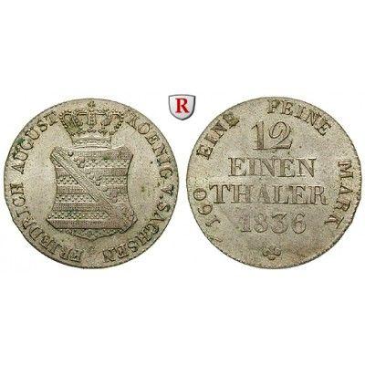 Sachsen, Königreich Sachsen, Friedrich August II., 1/12 Taler 1836, vz+: Friedrich August II. 1836-1854. 1/12 Taler 1836 G. AKS 105;… #coins