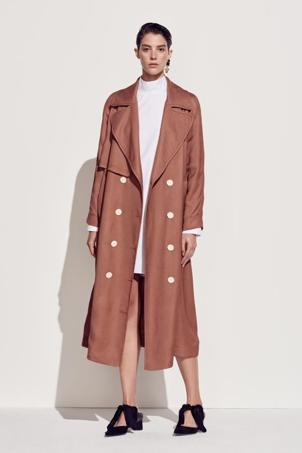 The Sedum Long Sleeve Shirt and The Nolana Trench by CAMILLA AND MARC from their Resort 2016 Collection.