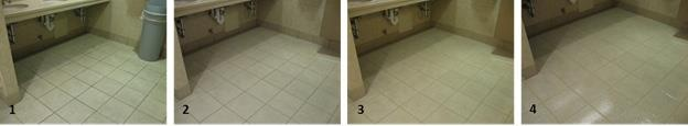 These photos show the SilTanium process at Gillette: 1. Before. 2. After thorough cleaning and removal of soils. 3. After process to color-seal all grout lines. 4. After SilTanium finish is applied.