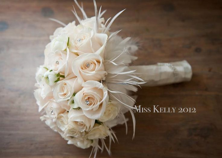 Wedding Bouquets With Feathers And Crystals : I was in love with my bouquet ivory rose