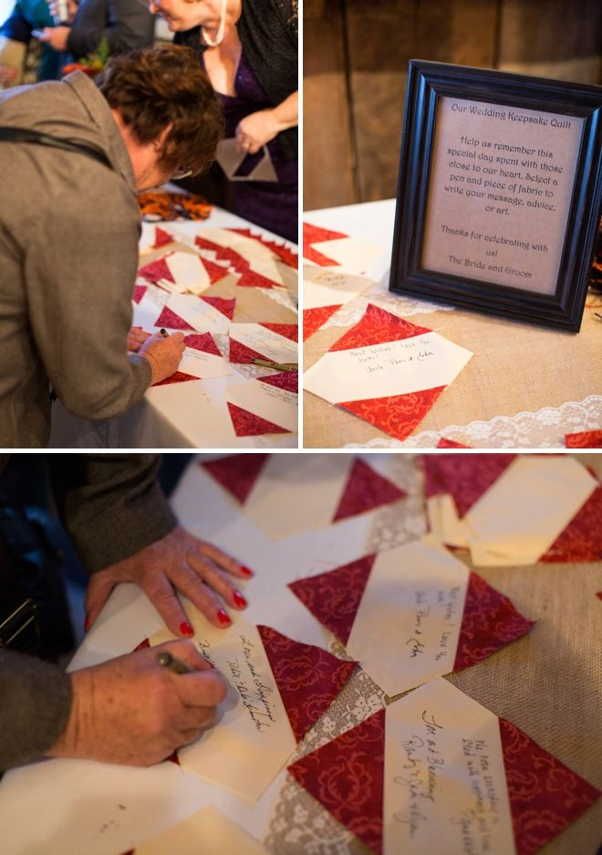 DIY wedding idea - quilt guest book! Courtney could then put it together!