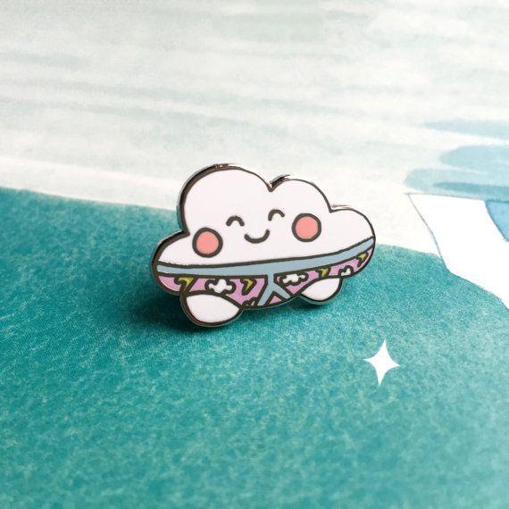 Thunderpants Cloud Lapel Pin | cute enamel hat pin badge