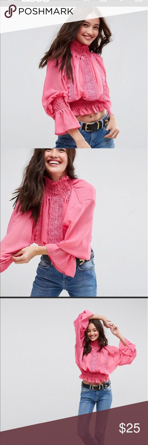 ASOS Hand smocked blouse with lace detail Brand new with tags. Hot pink. Sheer but can't see a nude bra underneath it. US size 2 - sold out online ASOS Tops Blouses