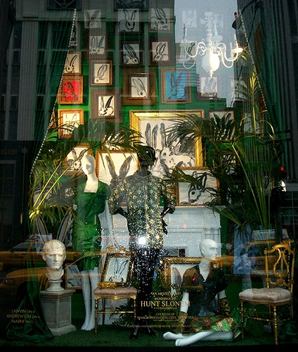 Art, Green (Bunnymania) - The sparkle spray on the glass is actually droplets of rainwater.    Bergdorf Goodman window display featuring paintings by Hunt Slonem, courtesy of Marlborough Gallery, New York. Furniture and objects from the artist's collection.