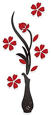 Yalis 3D Vase Wall Murals for Living Room, Dining Room,Bedroom, TV Wall Background, DIY Wall Decorations - B (Red, 30 X 12 Inches)