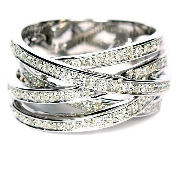 14K White Gold Free-Form Pavé Diamond Ring ($2,659) ❤ liked on Polyvore
