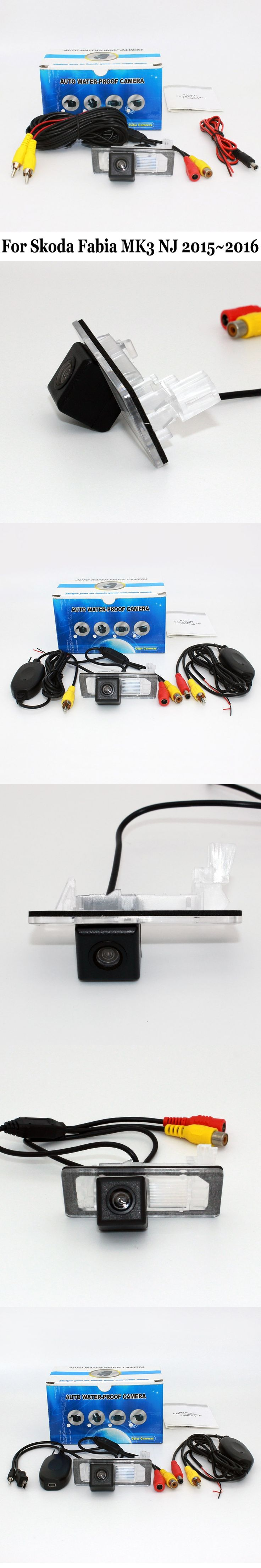 Backup Cameras For Skoda Fabia MK3 NJ 2015~2016 / RCA Wire Or Wireless / HD Wide Lens Angle / CCD Night Vision Rear View Camera
