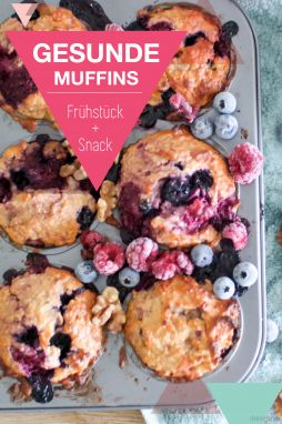 Healthy muffins for the kindergarten and the school – delicious with little sugar // advertising  #gesunde ernährung #healthy food