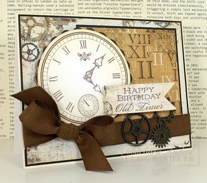 a classy over the hill masculine birthday card, brown with clock