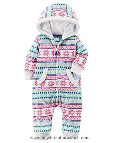 Baby Girl Clothes Carter's Baby Girls' One Piece Fairisle Fleece Jumpsuit 24 Months