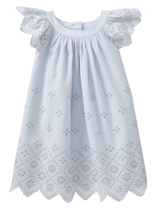 Baby Gap 2014 Eyelet Flutter Dress in Cloudy Blue