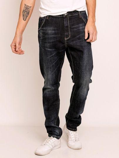 Wrinkle Medium Wash Men's Loose Fit Jeans